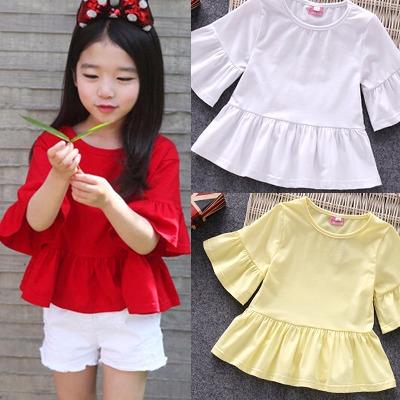 女童春秋夏款短袖T恤儿童宝宝纯棉半袖娃娃衫大中小童喇叭袖上衣