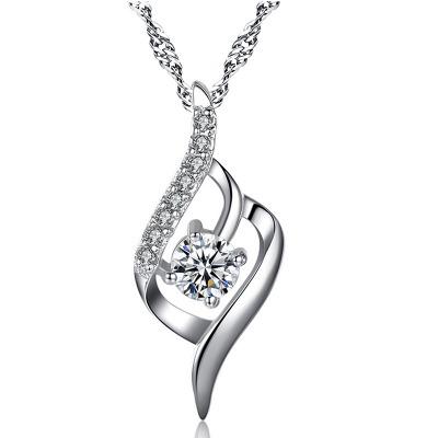 六隆珠宝正品S925银项链唯爱之恋吊坠 女款简约水波链送女生礼物
