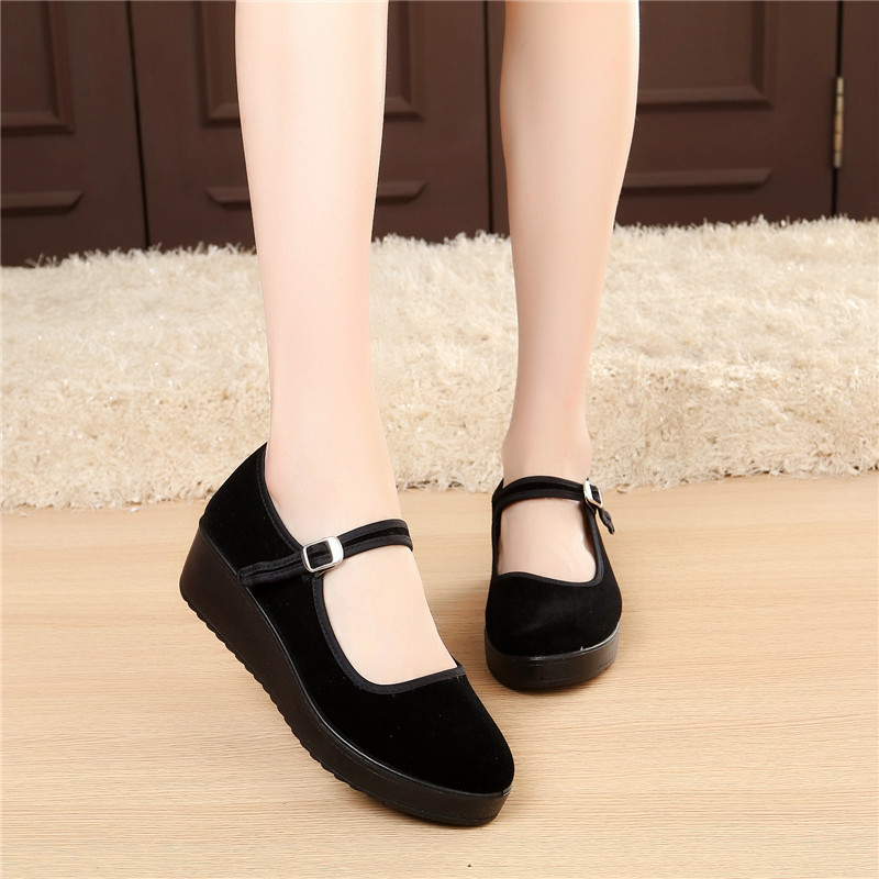[胖子鞋馆] 老北京布鞋工作单鞋女平底坡跟松糕一字带酒店上班礼仪