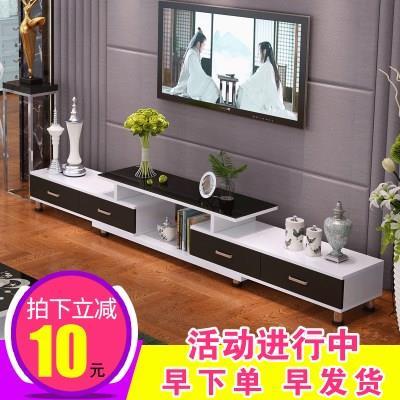 新品钢化玻璃伸缩电视柜茶几组合简约现代欧式小户型客厅电视机柜
