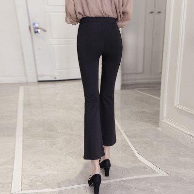 夏季季开叉微喇叭裤女高腰九分裤韩版黑色阔腿裤显瘦大码休闲