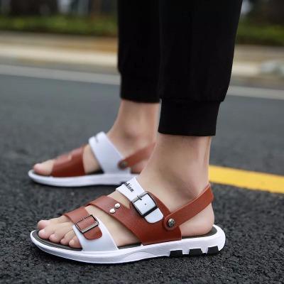 夏季皮凉鞋男潮拖鞋男2018新款软底夏天凉拖鞋男两穿男士凉鞋沙滩