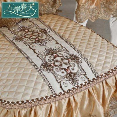 丝绸桌布布艺欧式长方形正方形桌布套装防水餐桌圆桌布椅套椅垫套