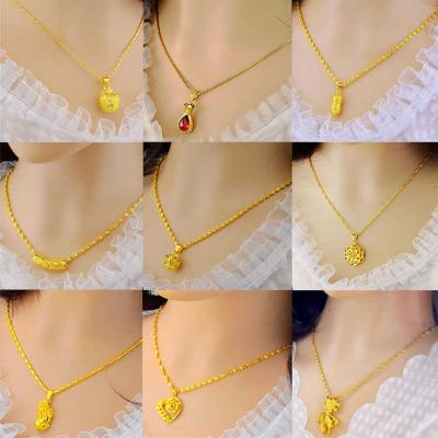 女士越南沙金项链不褪色镶钻金鱼镀金项链黄金色链子饰品生日礼物