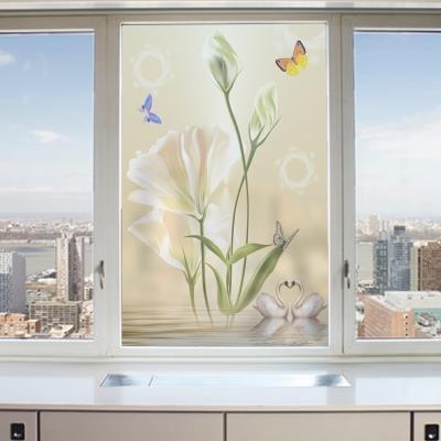 欧式梦幻磨砂玻璃贴膜 卫生间阳台窗户贴纸3D立体静电免胶郁金香
