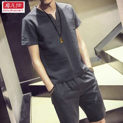 卓凡仕【上衣+裤子】95棉夏季短袖套装男中国风短袖T恤套装男短裤