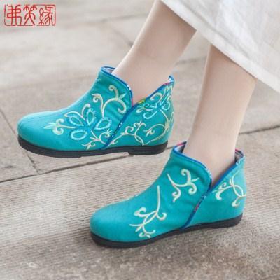 老北京布鞋女春季新款平跟民族风女鞋青年复古千层底绣花鞋藤香