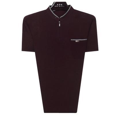 中老年男装夏季纯色短袖体恤衫中年男士T恤衫夏装服饰无领圆领t恤