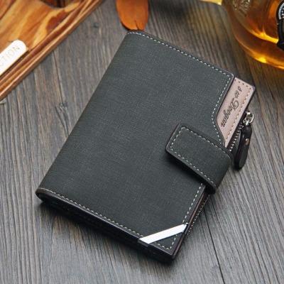 新款韩版钱包竖款多功能卡包拉链搭扣三折钱夹青年钱包男短款皮夹
