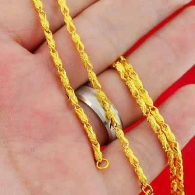 小金鱼镀金项链越南沙金饰品锁骨链不褪色欧币镀金链子女友礼物