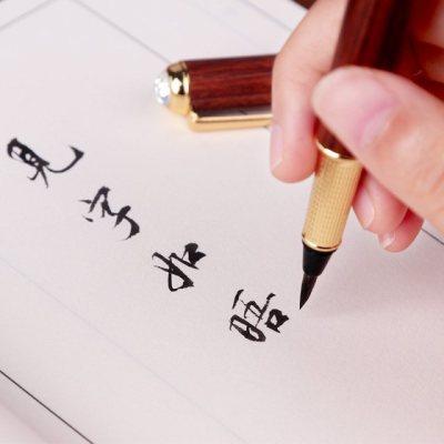 钢笔勾线可吸水中楷成人毛笔款式抄经毛笔狼毫笔杆钢笔式毛笔初学